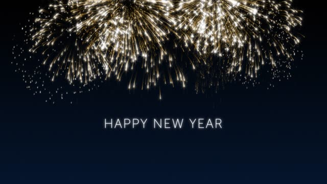 Happy new year 2020 social post card with gold animated fireworks on elegant black and blue background.Celebration concept animation for festive event.New year wishes.Congratulate new year Happy new year 2018 social post card with gold animated fireworks on elegant black and blue background.Celebration concept animation for festive event. pyrotechnic effects stock videos & royalty-free footage