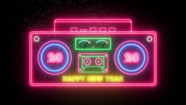 Happy New Year 2020. Stereo retro neon radio, animated on a black fireworks background. Party retro design stereo radio recorder and cassette player, with animated neon lights and speakers, on a black background. Happy New Year 2020. Fireworks, 4K 2020 stock videos & royalty-free footage
