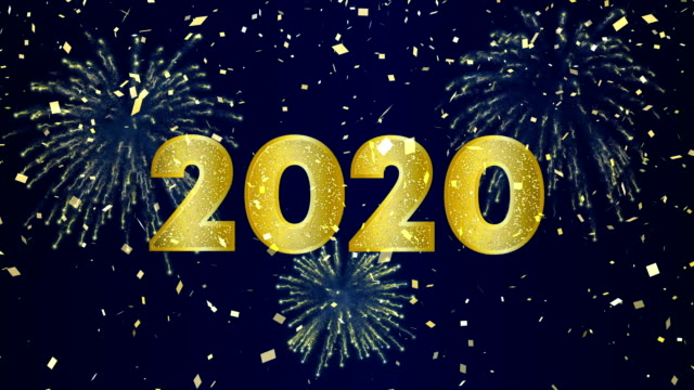 Happy New Year 2020 video card of gold fireworks Happy New Year 2020 intro animation of gold fireworks explosion on holiday eve night sky. Video greeting card or celebration party invitation footage in 4k 2020 stock videos & royalty-free footage