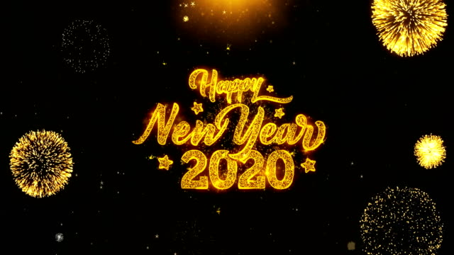 Happy New Year 2020  Wishes Greetings card, Invitation, Celebration Firework Looped Happy New Year 2020 Text Sparks Particles Reveal from Golden Firework Display explosion 4K. Greeting card, Celebration, Party Invitation, calendar, Gift, Events, Message, Holiday, Wishes Festival happy new year 2021 stock videos & royalty-free footage