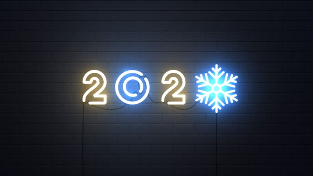 Happy New Year 2020 with snowflake neon sign on wall Happy New Year 2020 with snowflake neon sign on wall web banner stock videos & royalty-free footage