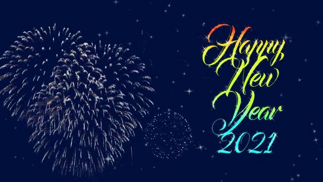 szczęśliwego nowego roku 2021 - abstrakcyjne cząstki & colorful glitter fireworks greeting card text. happy 2021 nowy rok neon banner. 2021 nowy znak roku. animacja 4k. pętla bez szwu prawdziwe fajerwerki tło. - happy holidays filmów i materiałów b-roll