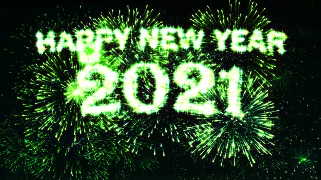 Happy new year 2021 Fireworks Display Green Color video