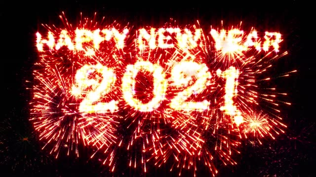 Happy new year 2021 Fireworks Display Red Color video