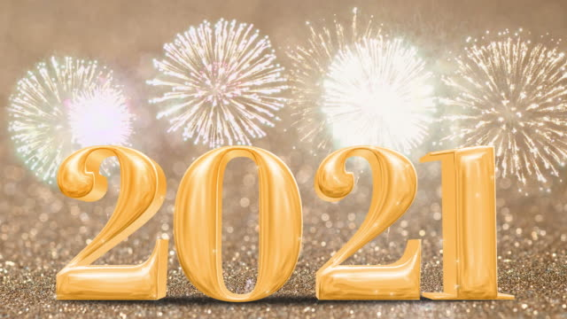 Happy New Year 2021 gold with fireworks on sparkling gold glitter bokeh wall,Holiday celebration concept