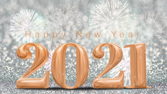 Happy New Year 2021 rose gold with fireworks on sparkling silver glitter bokeh wall,Holiday celebration concept Happy New Year 2021 rose gold with fireworks on sparkling silver glitter bokeh wall,Holiday celebration concept happy new year 2021 stock videos & royalty-free footage