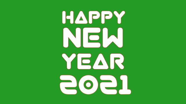Happy new year 2021 text animation on green screen background.4k video holiday concept