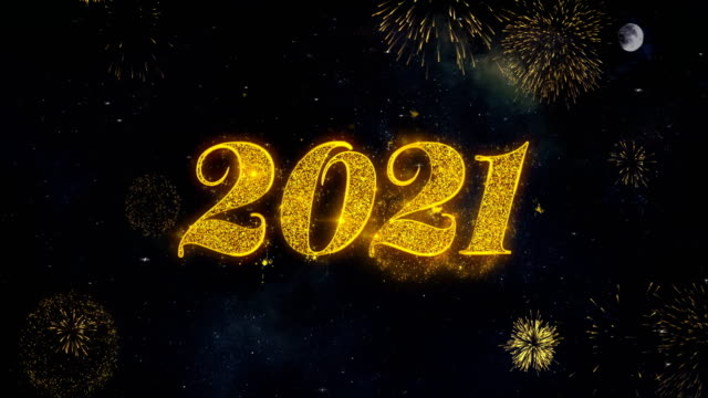 Happy New Year 2021 Text Wishes Reveal From Firework Particles Greeting card. Happy New Year 2021 Text Typography Reveal From Golden Firework Crackers Particles Night Sky 4k Background. Greeting card, Celebration, Party, Invitation, Gift, Event, Message, Holiday, Wish, Festival happy new year 2021 stock videos & royalty-free footage