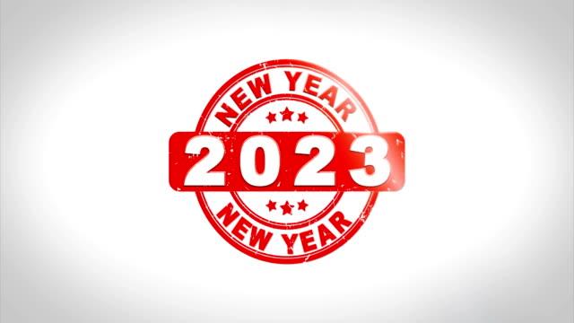 frohes neues jahr 2023 signiert stempel text holz stempel animation. - kalender icon stock-videos und b-roll-filmmaterial
