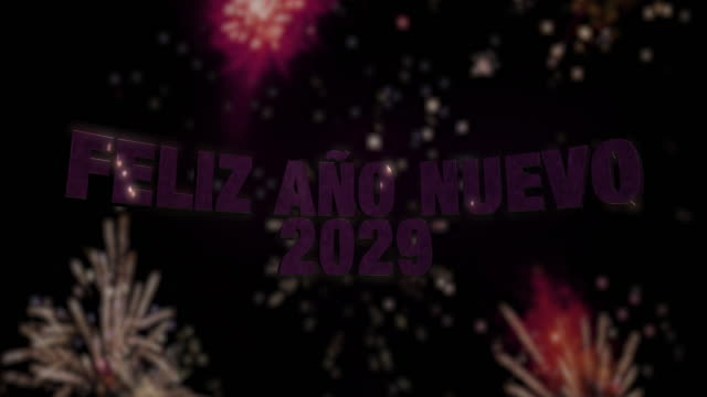 """Happy New Year 2029 Loop 4K Seamless looping fireworks with the 3d animated text """"Feliz Año Nuevo (happy new year in Spanish) 2029"""" in 4K resolution 2020 2029 stock videos & royalty-free footage"""