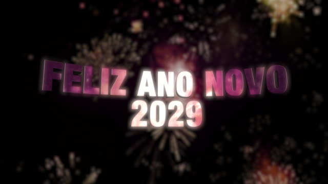 """Happy New Year 2029 Loop 4K Seamless looping fireworks with the 3d animated text """"Feliz Ano Novo (happy new year in Portuguese) 2029"""" in 4K resolution 2020 2029 stock videos & royalty-free footage"""