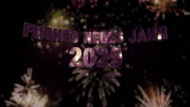 """Happy New Year 2029 Loop 4K Seamless looping fireworks with the 3d animated text """"Frohes neues Jahr 2029"""" in 4K resolution 2020 2029 stock videos & royalty-free footage"""