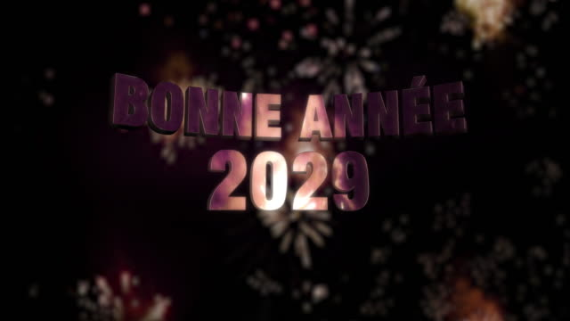"""Happy New Year 2029 Loop 4K Seamless looping fireworks with the 3d animated text """"Bonne Année (happy new year in French) 2029"""" in 4K resolution 2020 2029 stock videos & royalty-free footage"""