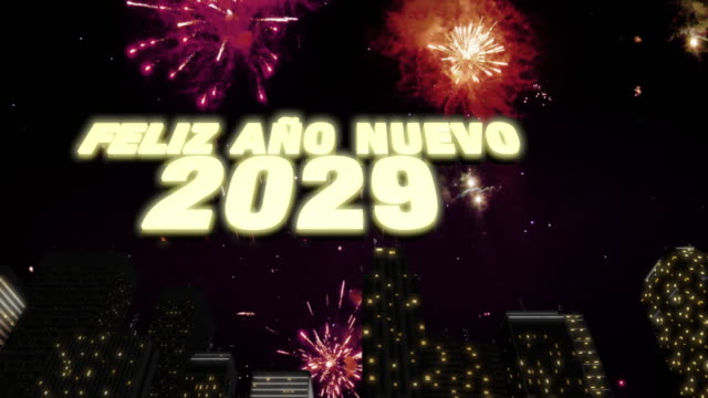 """Happy New Year 2029 Skyline Loop 4K Seamless looping 3d animated skyline with fireworks in the sky and the 3d text """"Feliz Año Nuevo (happy new year in Spanish) 2029"""" in 4K resolution 2020 2029 stock videos & royalty-free footage"""