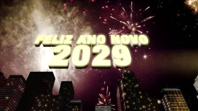"""Happy New Year 2029 Skyline Loop 4K Seamless looping 3d animated skyline with fireworks in the sky and the 3d text """"Feliz Ano Novo (happy new year in Portuguese) 2029"""" in 4K resolution 2020 2029 stock videos & royalty-free footage"""