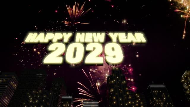 Happy New Year 2029 Skyline Loop 4K Happy New Year 2029 Skyline Loop 4K 2020 2029 stock videos & royalty-free footage