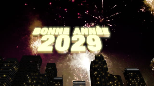 """Happy New Year 2029 Skyline Loop 4K Seamless looping 3d animated skyline with fireworks in the sky and the 3d text """"Bonne Année (happy new year in French) 2029"""" in 4K resolution 2020 2029 stock videos & royalty-free footage"""