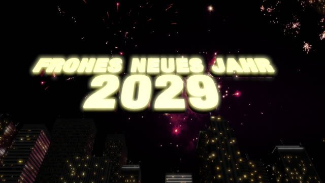 """Happy New Year 2029 Skyline Loop 4K Seamless looping 3d animated skyline with fireworks in the sky and the 3d text """"Frohes neues Jahr 2029"""" in 4K resolution 2020 2029 stock videos & royalty-free footage"""