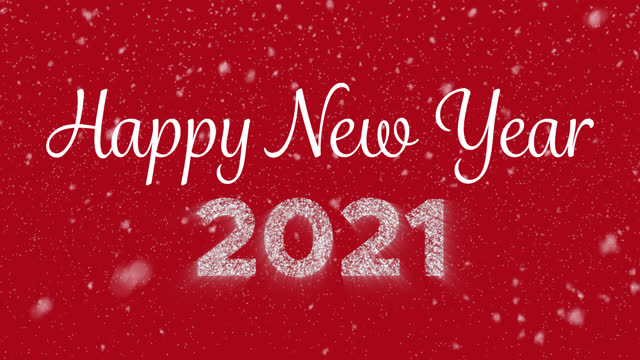 vídeos de stock e filmes b-roll de happy new year animated handwritten text with glowing appearing digits 2021 and snowflakes falling - new year