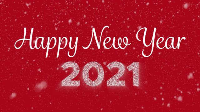 2021년 빛나는 등장숫자와 눈송이가 떨어지는 새해 복기 애니메이션 필기 텍스트 - new year 스톡 비디오 및 b-롤 화면