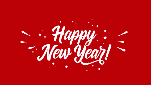 happy new year animated lettering. - логотип стоковые видео и кадры b-roll