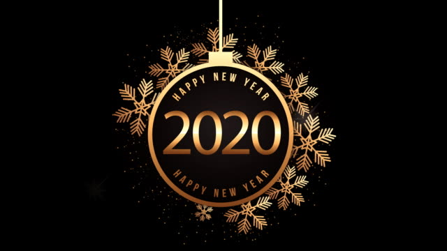 happy new year animation with 2020 golden ball hanging - new years stock videos & royalty-free footage