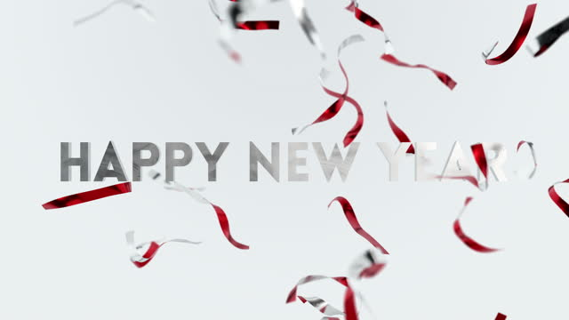 Happy New Year Confetti Seasons Greetings Animation Fun Card Background. Bright Beautiful 3d Flying Falling Ribbons Magic New Year Eve. Stylish Colorful Festive Backdrop Celebration Party Close-up 4k