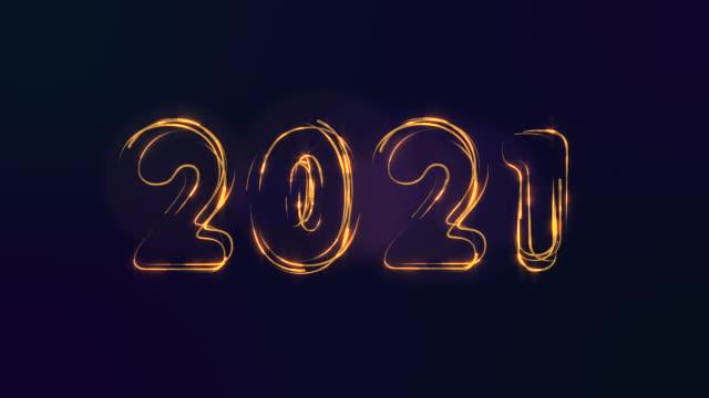 2021 felice anno nuovo. figure di monete d'oro. particelle scintillanti formano i simboli del natale. - christmas movie video stock e b–roll
