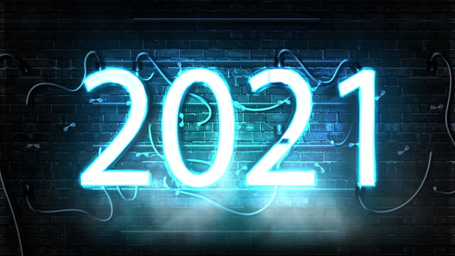 2021 Happy New Year flickering neon symbol