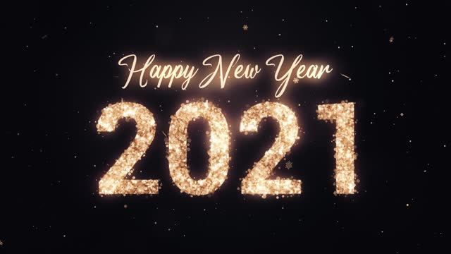 2021 Happy New Year. Gold glitter on dark background. Loopable