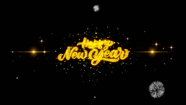 vídeos de stock e filmes b-roll de happy new year golden greeting text appearance blinking particles with golden fireworks display 4k for greeting card, celebration, invitation, calendar, gift, events, message, holiday, wishes . - happy new year