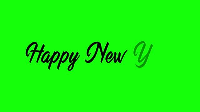 Animação manuscrita feliz da tela verde da tela de ano novo - vídeo
