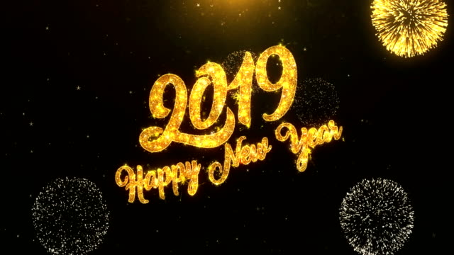 Royalty free happy new year card hd video 4k stock footage b roll 2019 happy new year greeting card text reveal from golden firework crackers on glitter shiny m4hsunfo