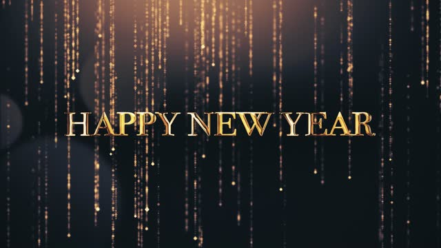 Happy New Year greetings video card with shining golden bokeh particles 4k animation. Happy New Year greetings video card with shining golden bokeh particles on a background. Beautiful typography magic design. happy new year 2021 stock videos & royalty-free footage