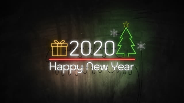 2020 Happy New Year neon light on wall. Banner blinking neon sign style