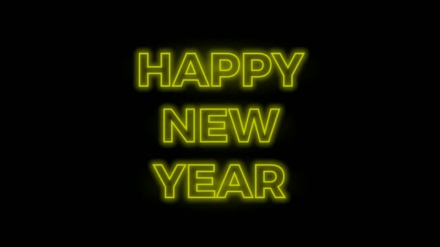 Happy New Year, neon on black background. 2D animation. Loop footage 4k Happy New Year, neon on black background. 2D animation. Loop footage 4k happy new year 2021 stock videos & royalty-free footage