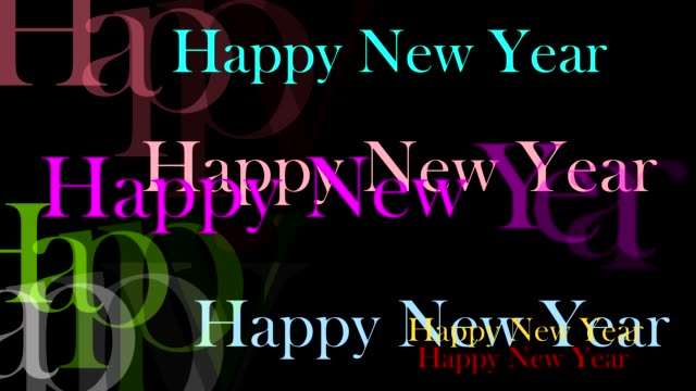 happy new year text colorful rainbow fly in and black isolated - повторный запуск стоковые видео и кадры b-roll