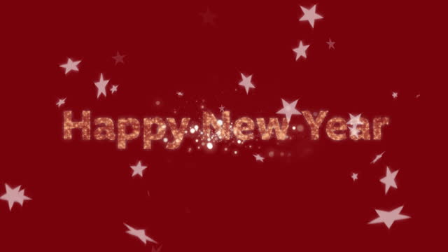 Happy New Year text over stars and fireworks exploding on red background Animation of Happy New Year text with glowing fairy lights and multiple stars falling on red background. New Years Eve celebration festivity concept digitally generated image. happy new year 2021 stock videos & royalty-free footage
