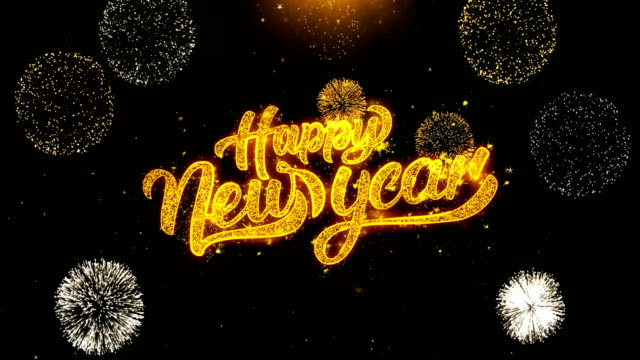 Happy new year text Sparks Particles Reveal from Golden Firework Display explosion 4K. Greeting card, Celebration, Party Invitation, calendar, Gift, Events, Message, Holiday, Wishes Festival . video