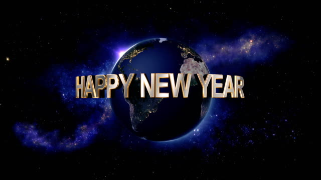 Happy New Year title - the Earth from space showing all they beauty video