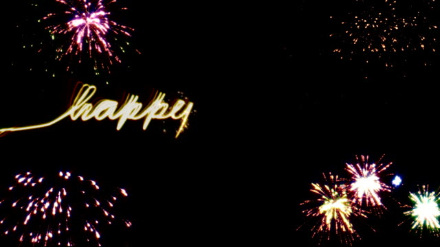 Happy New Year with Alpha writing happy new year with firework Alphachannel inclusive new year's eve stock videos & royalty-free footage