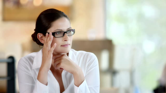 HD DOLLY: Happy Pensive Woman At The Café video
