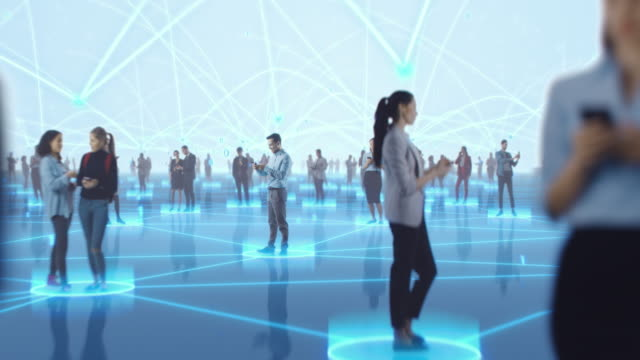 Happy People using Smartphone Devices in World Wide Connected Social Network. Diverse People do E-Business, Communicate, Send Messages. Visualization of Internet Virtual Reality Interconnected Persons