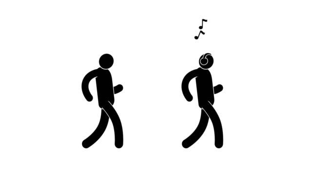 Happy pictogram man is dancing gait video