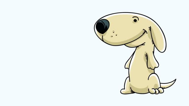 vídeos de stock, filmes e b-roll de laço cachorrinho feliz - cauda
