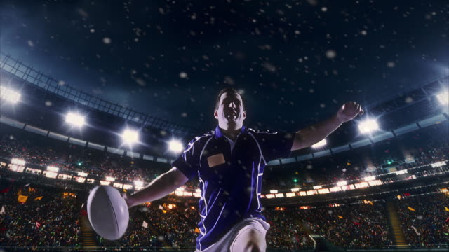 Happy rugby player Professional rugby player express his emotions after winning a big game on a professional sports arena with bleaches full of people. He is wearing unbranded sport clothes. Arena and people on it are made in 3D and animated. rugby stock videos & royalty-free footage