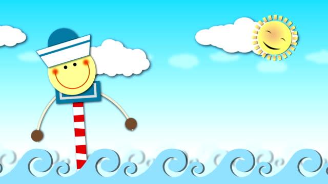 happy sailor - smiley stock-videos und b-roll-filmmaterial