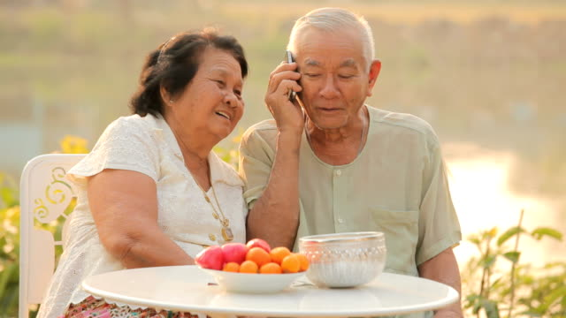 Happy senior couple talking on a mobile phone video