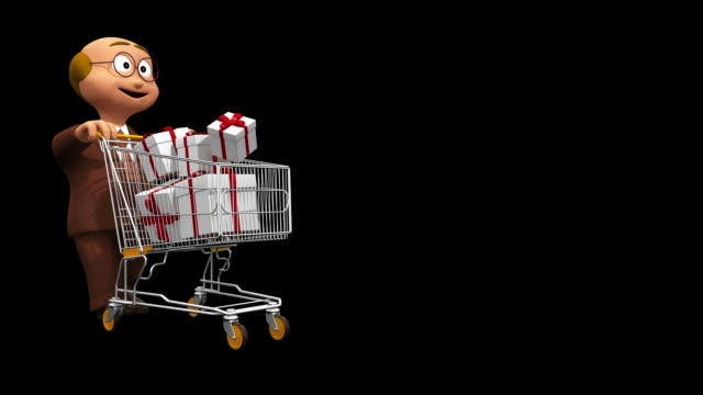 Happy Senior With Present Boxes in Shopping Car - Alpha