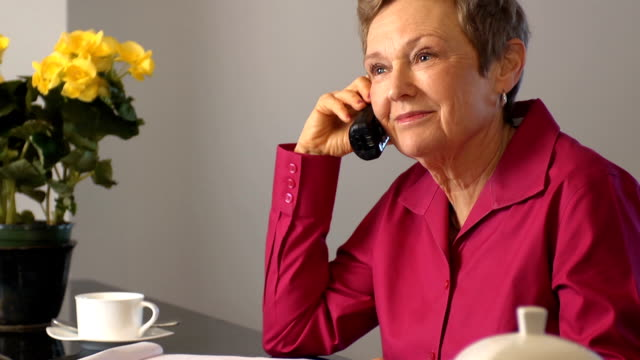 Happy Senior Woman Discusses Documents on Phone video